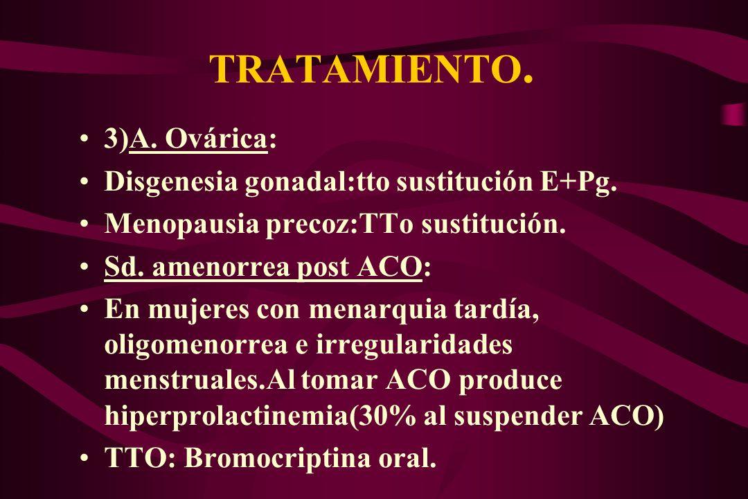 TRATAMIENTO. 3)A. Ovárica: Disgenesia gonadal:tto sustitución E+Pg. Menopausia precoz:TTo sustitución. Sd. amenorrea post ACO: En mujeres con menarqui