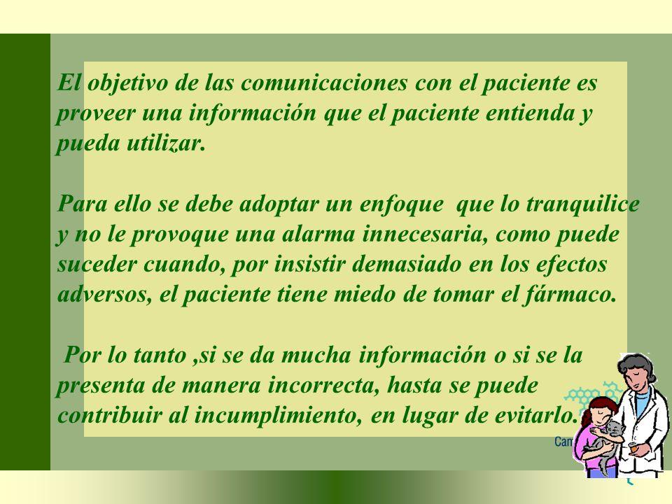 El objetivo de las comunicaciones con el paciente es proveer una información que el paciente entienda y pueda utilizar. Para ello se debe adoptar un e