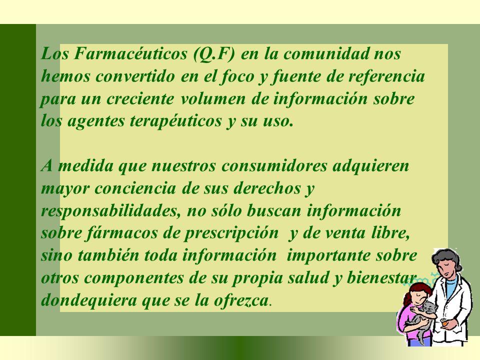 Los Farmacéuticos (Q.F) en la comunidad nos hemos convertido en el foco y fuente de referencia para un creciente volumen de información sobre los agen