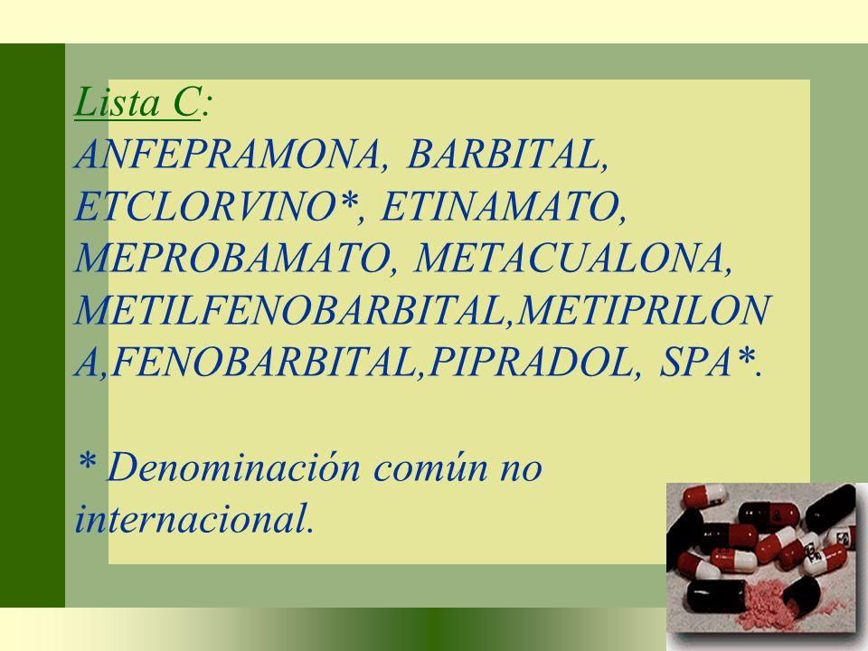 Lista C: ANFEPRAMONA, BARBITAL, ETCLORVINO*, ETINAMATO, MEPROBAMATO, METACUALONA, METILFENOBARBITAL,METIPRILON A,FENOBARBITAL,PIPRADOL, SPA*. * Denomi
