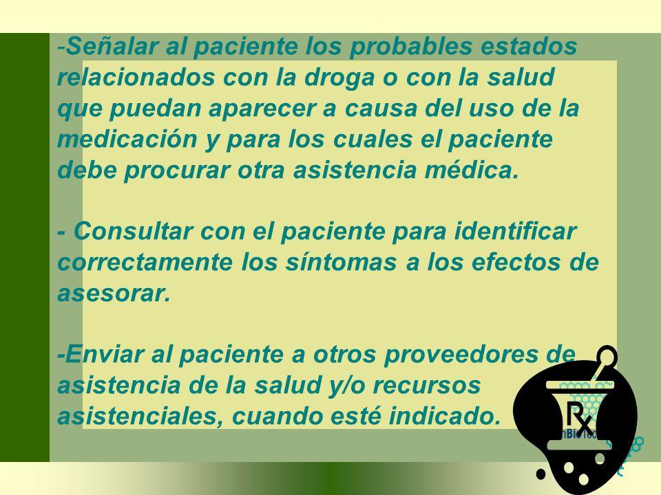 -Señalar al paciente los probables estados relacionados con la droga o con la salud que puedan aparecer a causa del uso de la medicación y para los cu