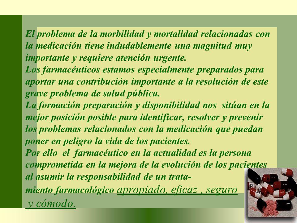 El problema de la morbilidad y mortalidad relacionadas con la medicación tiene indudablemente una magnitud muy importante y requiere atención urgente.