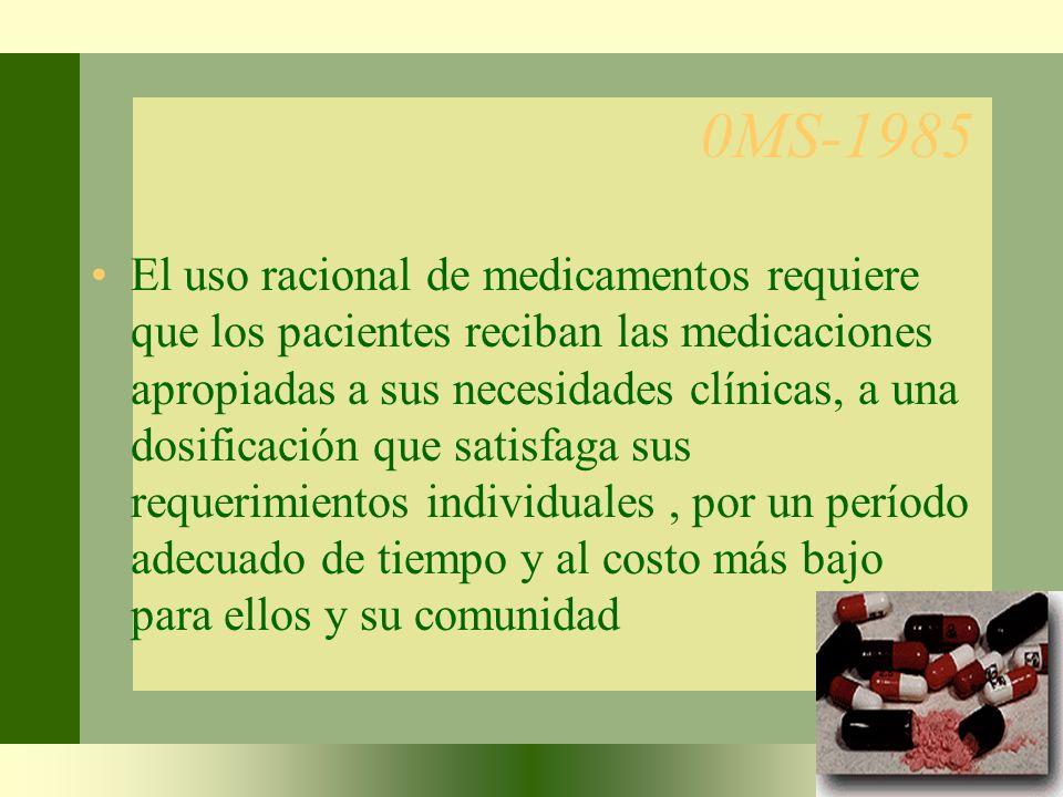 0MS-1985 El uso racional de medicamentos requiere que los pacientes reciban las medicaciones apropiadas a sus necesidades clínicas, a una dosificación