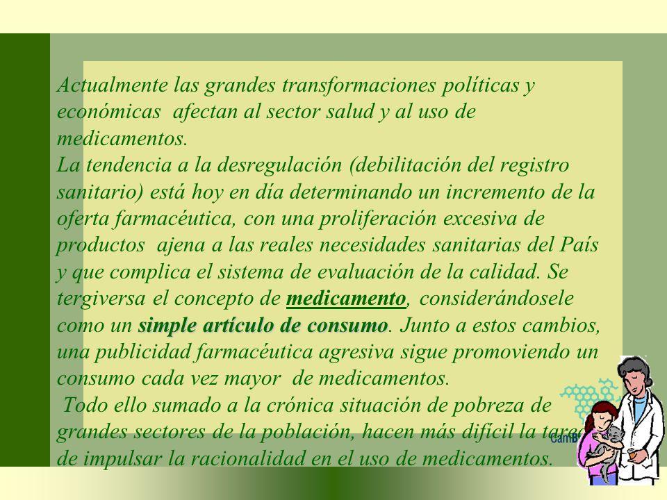 simple artículo de consumo Actualmente las grandes transformaciones políticas y económicas afectan al sector salud y al uso de medicamentos. La tenden