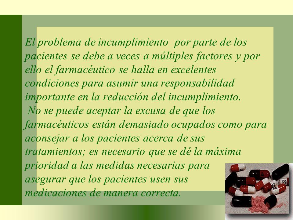 El problema de incumplimiento por parte de los pacientes se debe a veces a múltiples factores y por ello el farmacéutico se halla en excelentes condic