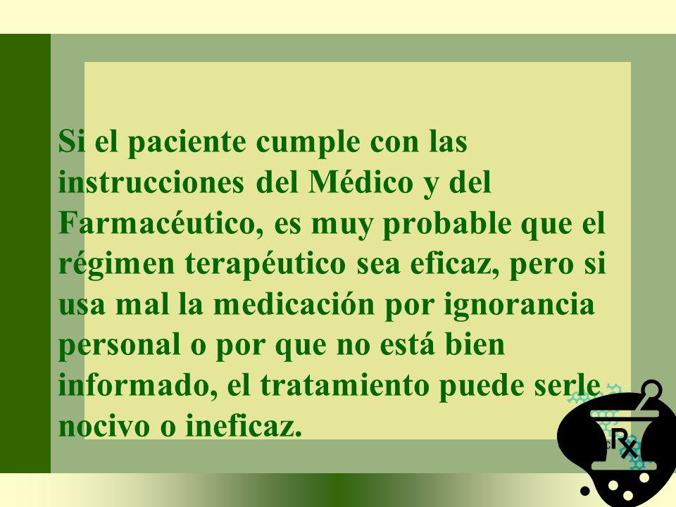 Si el paciente cumple con las instrucciones del Médico y del Farmacéutico, es muy probable que el régimen terapéutico sea eficaz, pero si usa mal la m