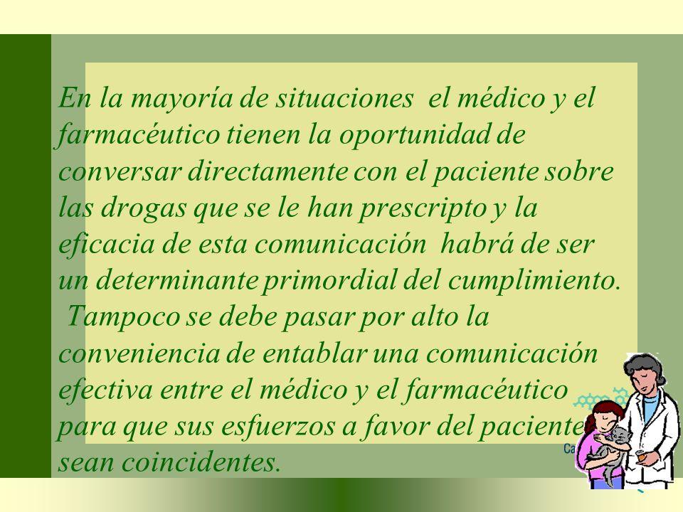 En la mayoría de situaciones el médico y el farmacéutico tienen la oportunidad de conversar directamente con el paciente sobre las drogas que se le ha