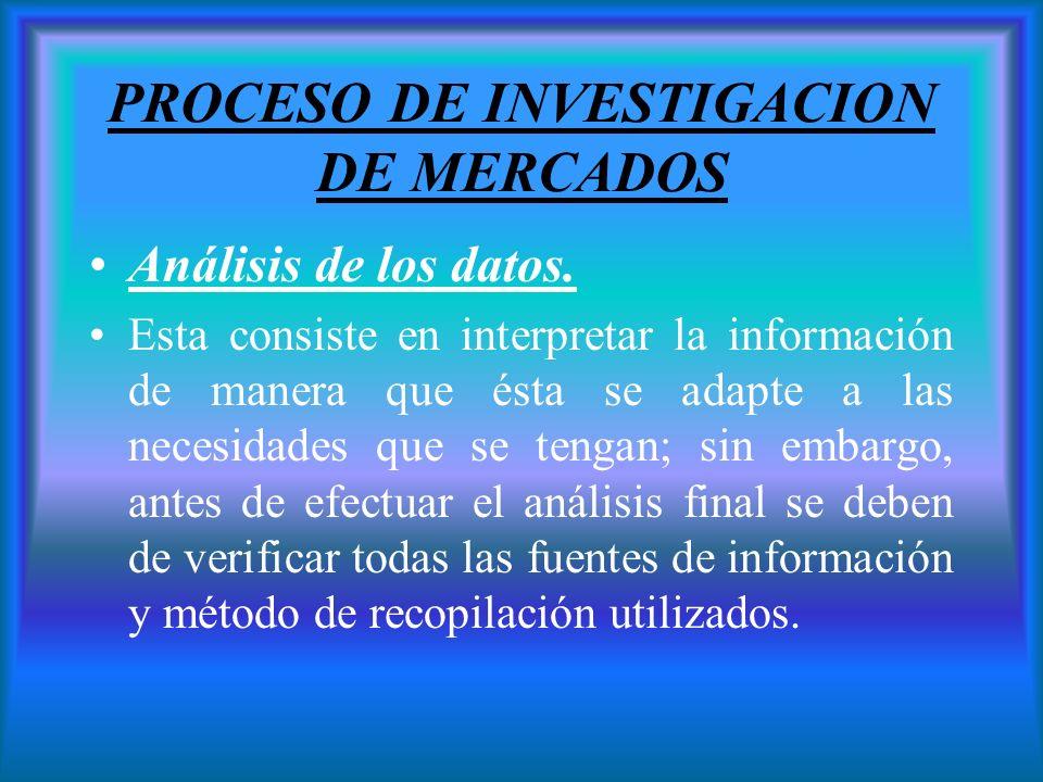 PROCESO DE INVESTIGACION DE MERCADOS Análisis de los datos. Esta consiste en interpretar la información de manera que ésta se adapte a las necesidades