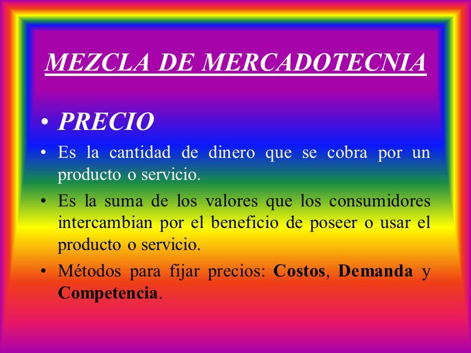 MEZCLA DE MERCADOTECNIA PRECIO Es la cantidad de dinero que se cobra por un producto o servicio. Es la suma de los valores que los consumidores interc