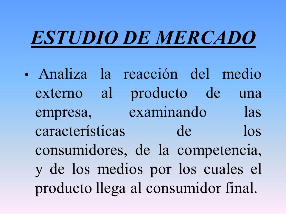 ESTUDIO DE MERCADO Analiza la reacción del medio externo al producto de una empresa, examinando las características de los consumidores, de la compete
