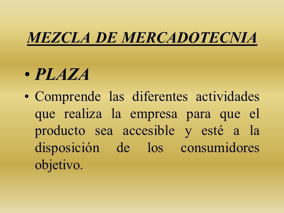 MEZCLA DE MERCADOTECNIA PLAZA Comprende las diferentes actividades que realiza la empresa para que el producto sea accesible y esté a la disposición d