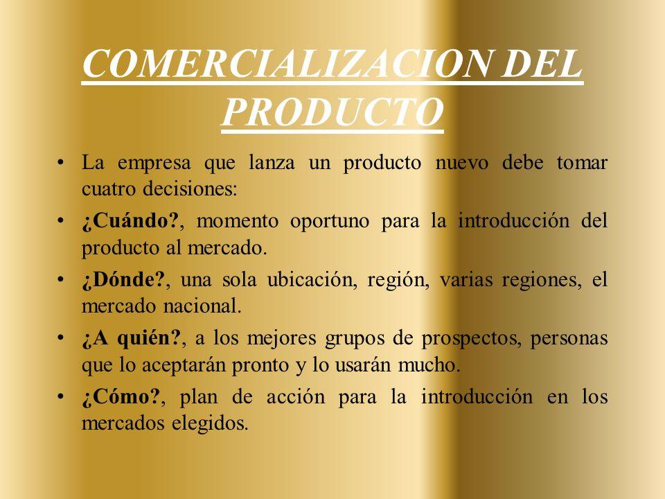 COMERCIALIZACION DEL PRODUCTO La empresa que lanza un producto nuevo debe tomar cuatro decisiones: ¿Cuándo?, momento oportuno para la introducción del