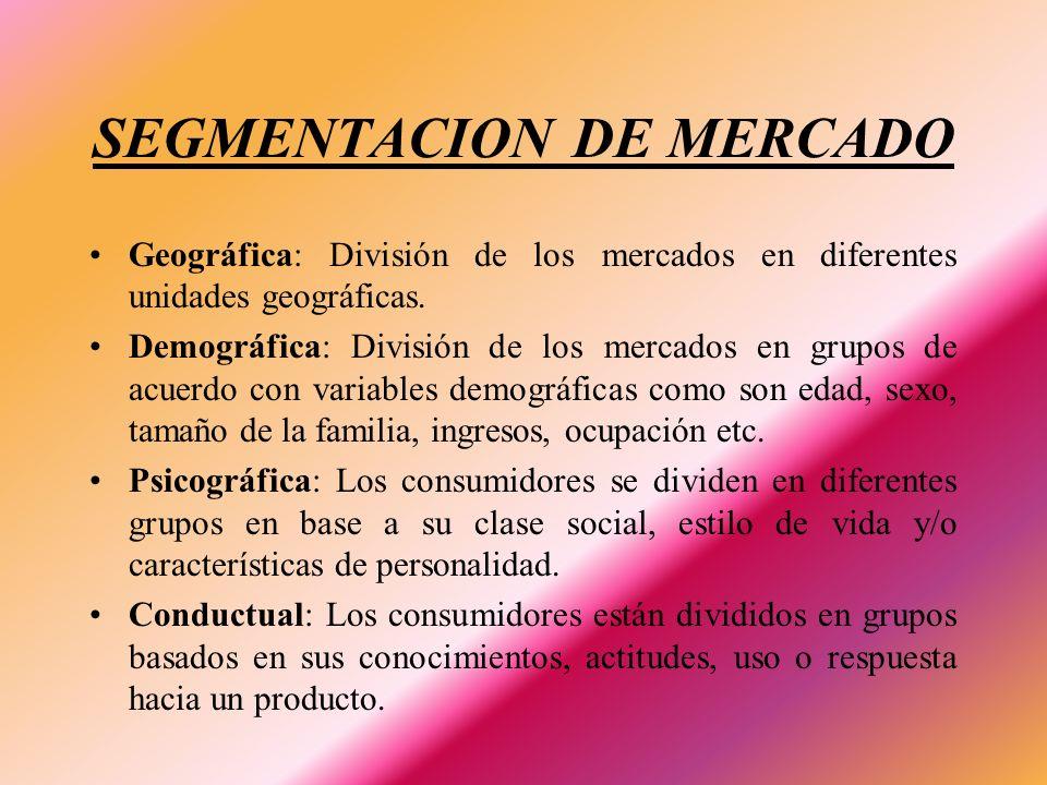 SEGMENTACION DE MERCADO Geográfica: División de los mercados en diferentes unidades geográficas. Demográfica: División de los mercados en grupos de ac
