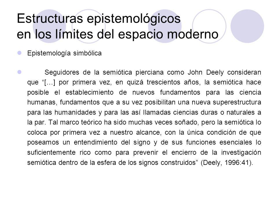 Estructuras epistemológicos en los límites del espacio moderno Epistemología simbólica Seguidores de la semiótica pierciana como John Deely consideran