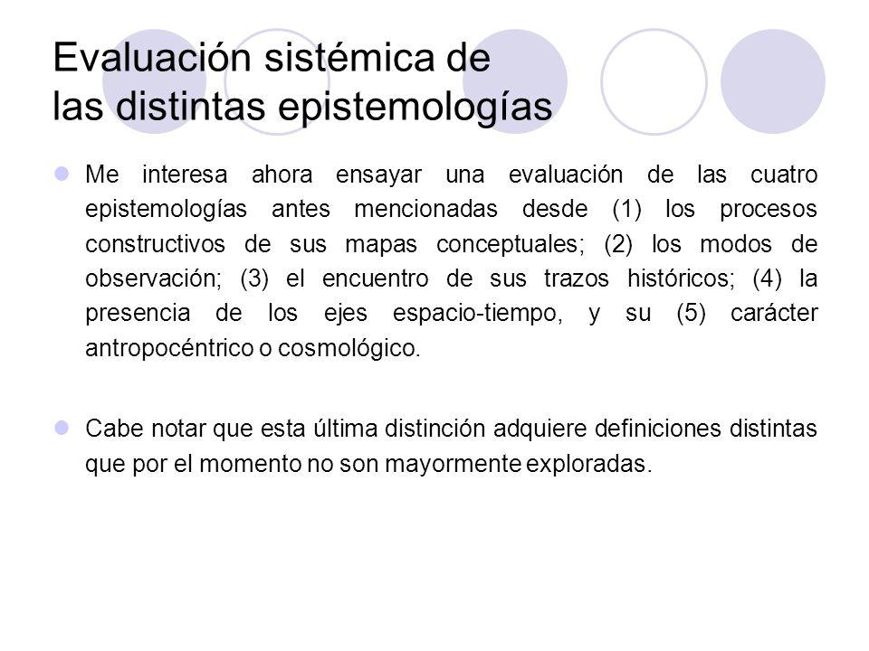 Evaluación sistémica de las distintas epistemologías Me interesa ahora ensayar una evaluación de las cuatro epistemologías antes mencionadas desde (1)