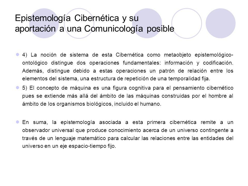 Epistemología Cibernética y su aportación a una Comunicología posible 4) La noción de sistema de esta Cibernética como metaobjeto epistemológico- onto