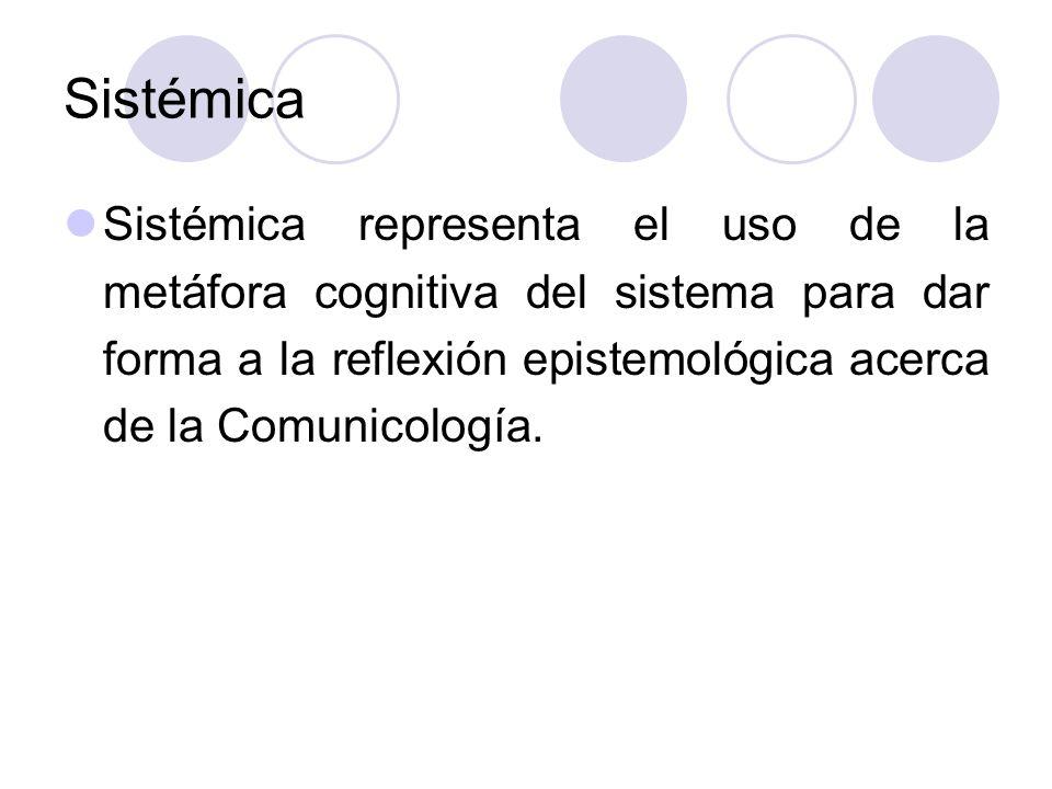 Sistémica Sistémica representa el uso de la metáfora cognitiva del sistema para dar forma a la reflexión epistemológica acerca de la Comunicología.
