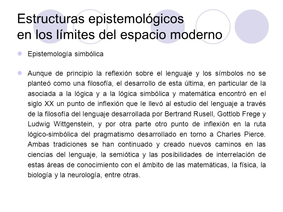 Estructuras epistemológicos en los límites del espacio moderno Epistemología simbólica Aunque de principio la reflexión sobre el lenguaje y los símbol