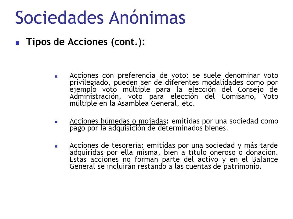 Sociedades Anónimas Tipos de Acciones (cont.): Acciones con preferencia de voto: se suele denominar voto privilegiado, pueden ser de diferentes modali