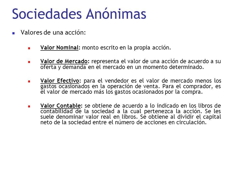 Sociedades Anónimas Valores de una acción: Valor Nominal: monto escrito en la propia acción. Valor de Mercado: representa el valor de una acción de ac
