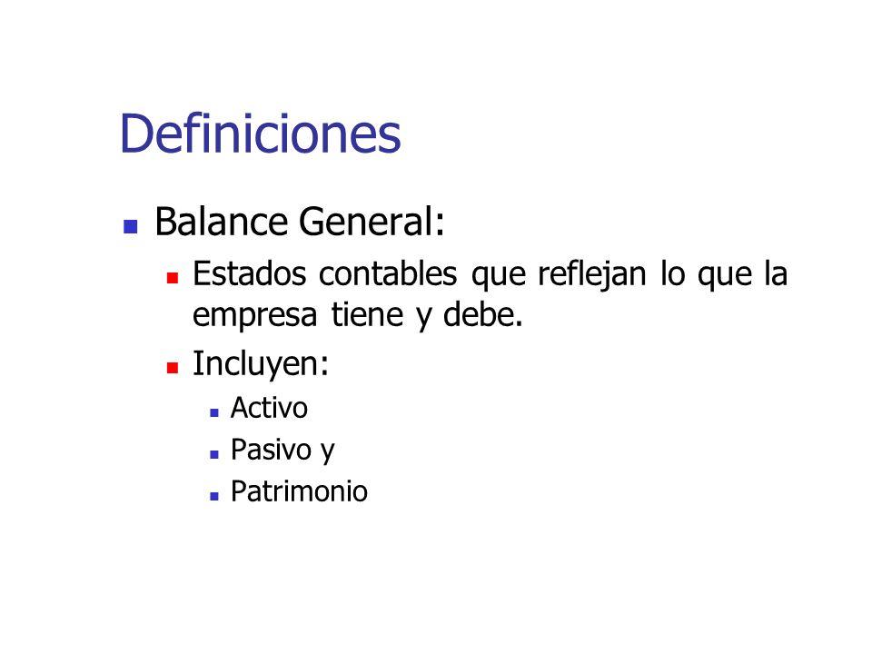 Definiciones Balance General: Estados contables que reflejan lo que la empresa tiene y debe. Incluyen: Activo Pasivo y Patrimonio
