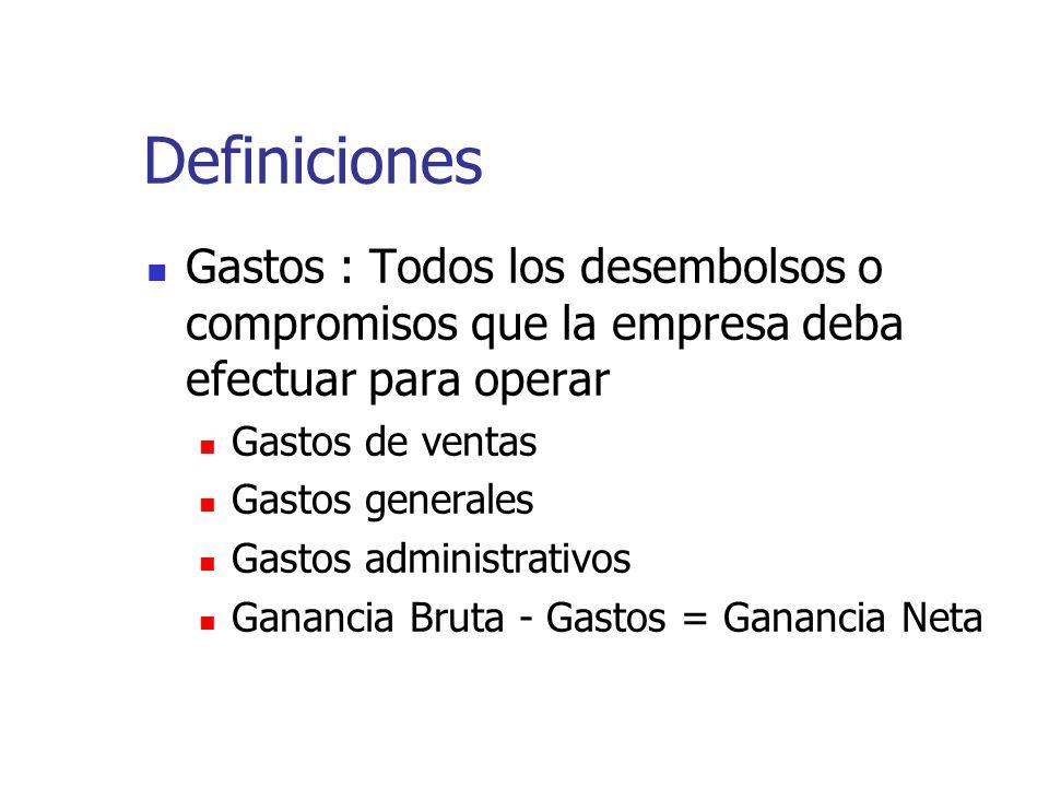 Definiciones Gastos : Todos los desembolsos o compromisos que la empresa deba efectuar para operar Gastos de ventas Gastos generales Gastos administra