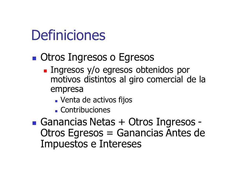 Definiciones Otros Ingresos o Egresos Ingresos y/o egresos obtenidos por motivos distintos al giro comercial de la empresa Venta de activos fijos Cont