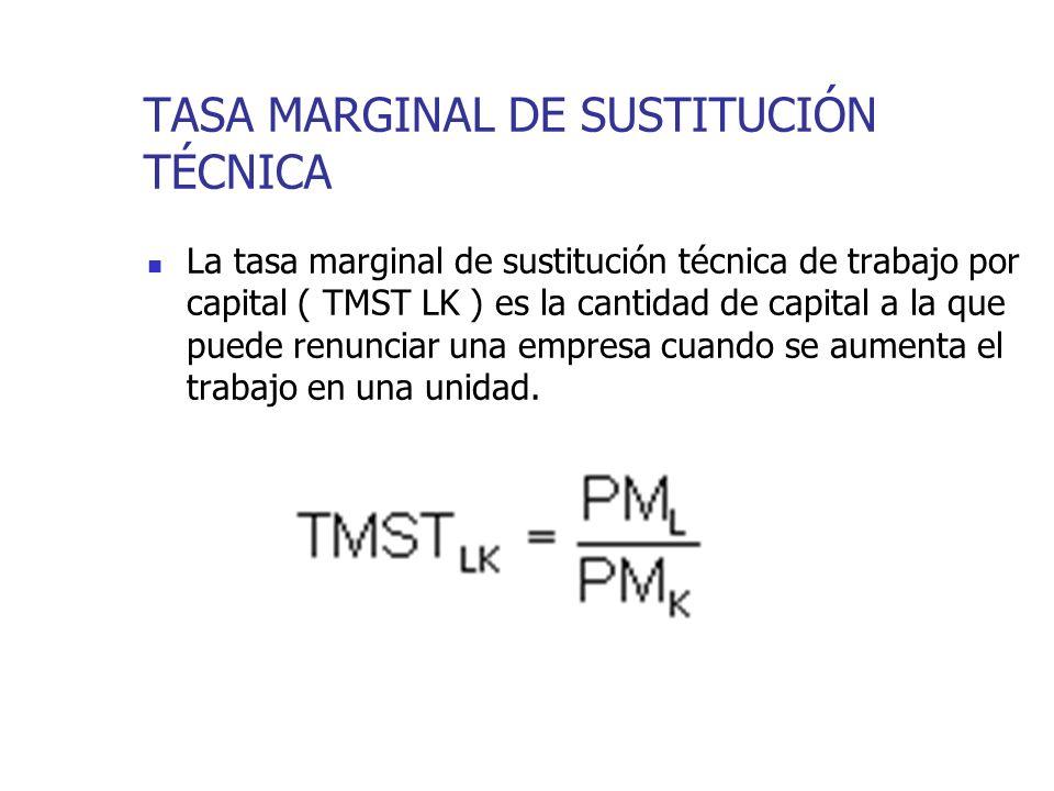 TASA MARGINAL DE SUSTITUCIÓN TÉCNICA La tasa marginal de sustitución técnica de trabajo por capital ( TMST LK ) es la cantidad de capital a la que pue