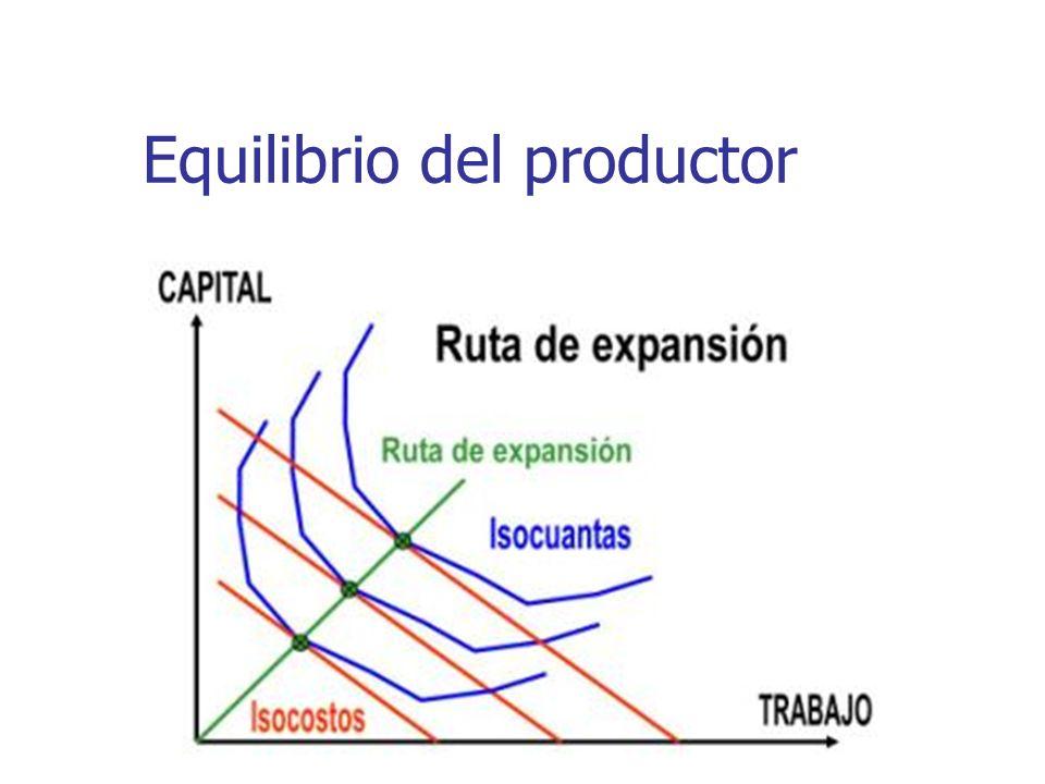 Sustitución de factores Si a partir de una posición de equilibrio del productor el costo de un factor desciende, cambiará la posición de equilibrio.