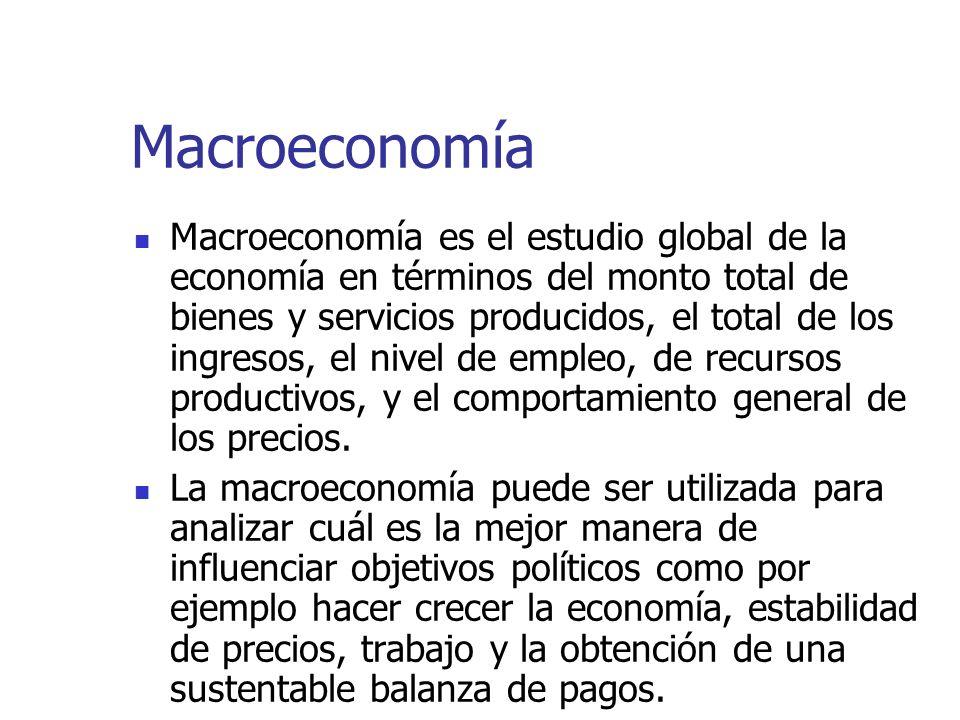 Macroeconomía Macroeconomía es el estudio global de la economía en términos del monto total de bienes y servicios producidos, el total de los ingresos