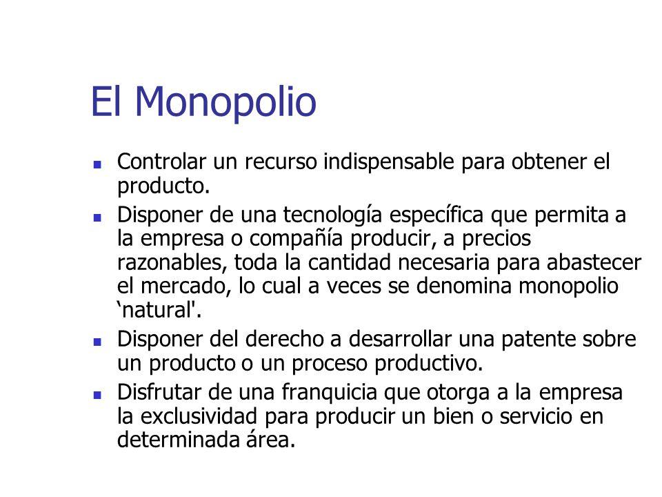 El Monopolio Controlar un recurso indispensable para obtener el producto. Disponer de una tecnología específica que permita a la empresa o compañía pr