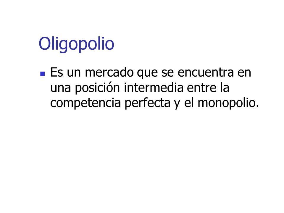 Oligopolio Es un mercado que se encuentra en una posición intermedia entre la competencia perfecta y el monopolio.
