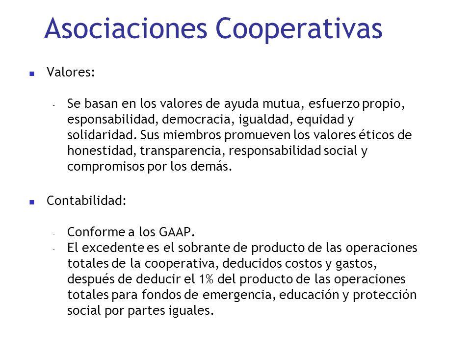 Asociaciones Cooperativas Valores: – Se basan en los valores de ayuda mutua, esfuerzo propio, esponsabilidad, democracia, igualdad, equidad y solidari