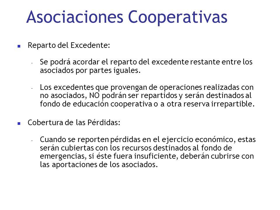 Asociaciones Cooperativas Reparto del Excedente: – Se podrá acordar el reparto del excedente restante entre los asociados por partes iguales. – Los ex