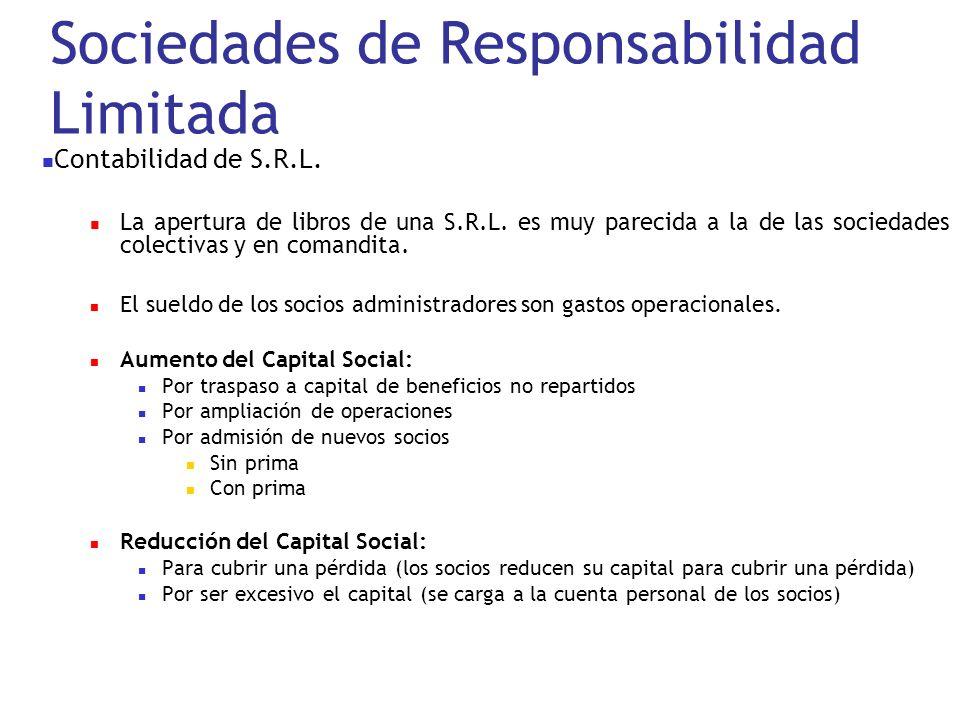Sociedades de Responsabilidad Limitada Contabilidad de S.R.L. La apertura de libros de una S.R.L. es muy parecida a la de las sociedades colectivas y