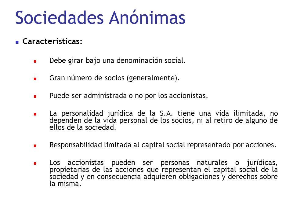 Sociedades Anónimas Características: Debe girar bajo una denominación social. Gran número de socios (generalmente). Puede ser administrada o no por lo