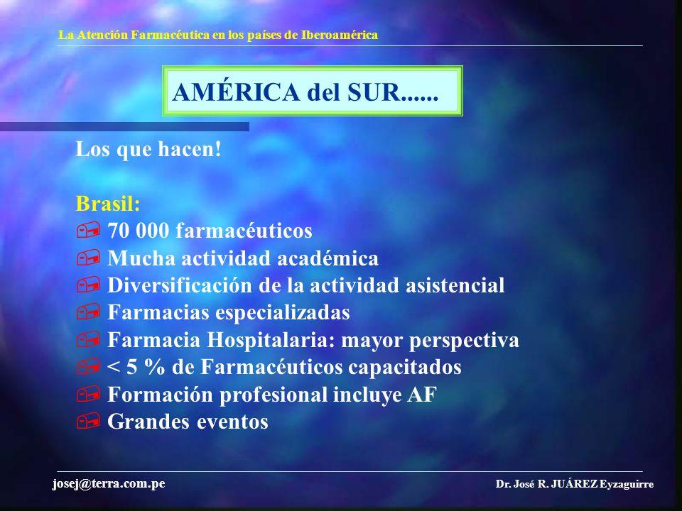 AMÉRICA del SUR...... La Atención Farmacéutica en los países de Iberoamérica Dr. José R. JUÁREZ Eyzaguirre josej@terra.com.pe Los que hacen! Brasil: 7