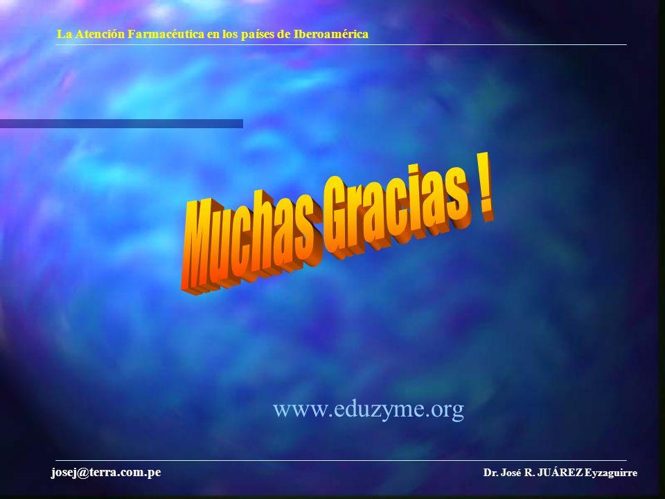 La Atención Farmacéutica en los países de Iberoamérica Dr. José R. JUÁREZ Eyzaguirre josej@terra.com.pe www.eduzyme.org