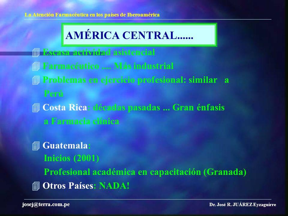 AMÉRICA CENTRAL...... La Atención Farmacéutica en los países de Iberoamérica Dr. José R. JUÁREZ Eyzaguirre josej@terra.com.pe Escasa actividad asisten