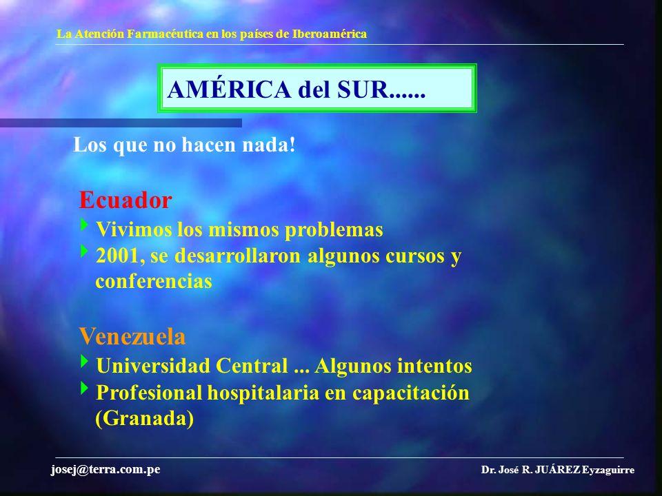 AMÉRICA del SUR...... La Atención Farmacéutica en los países de Iberoamérica Dr. José R. JUÁREZ Eyzaguirre josej@terra.com.pe Los que no hacen nada! E