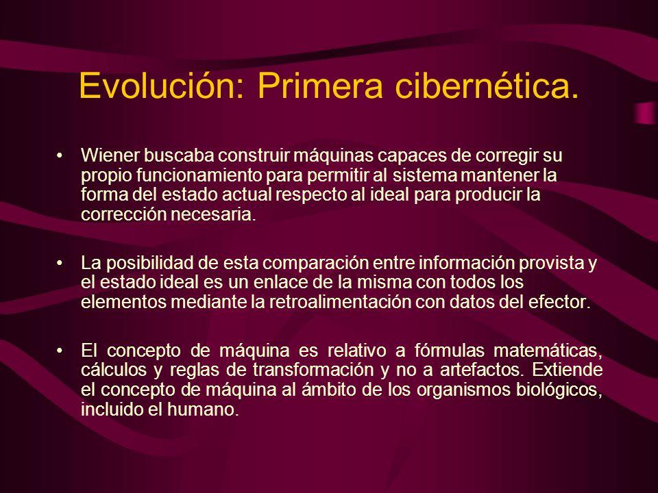 Evolución: Primera cibernética. Wiener buscaba construir máquinas capaces de corregir su propio funcionamiento para permitir al sistema mantener la fo