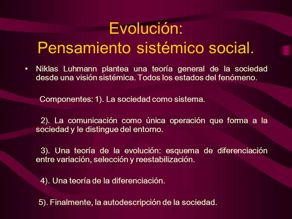 Evolución: Pensamiento sistémico social. Niklas Luhmann plantea una teoría general de la sociedad desde una visión sistémica. Todos los estados del fe