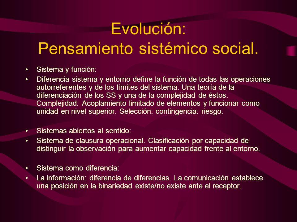Evolución: Pensamiento sistémico social. Sistema y función: Diferencia sistema y entorno define la función de todas las operaciones autorreferentes y