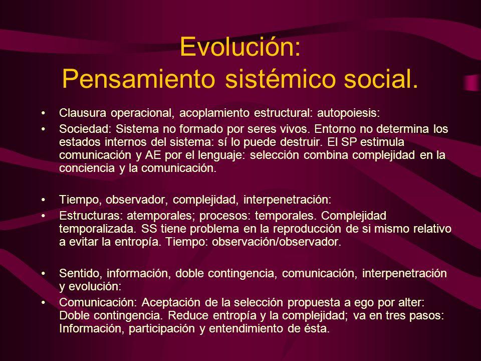 Evolución: Pensamiento sistémico social. Clausura operacional, acoplamiento estructural: autopoiesis: Sociedad: Sistema no formado por seres vivos. En