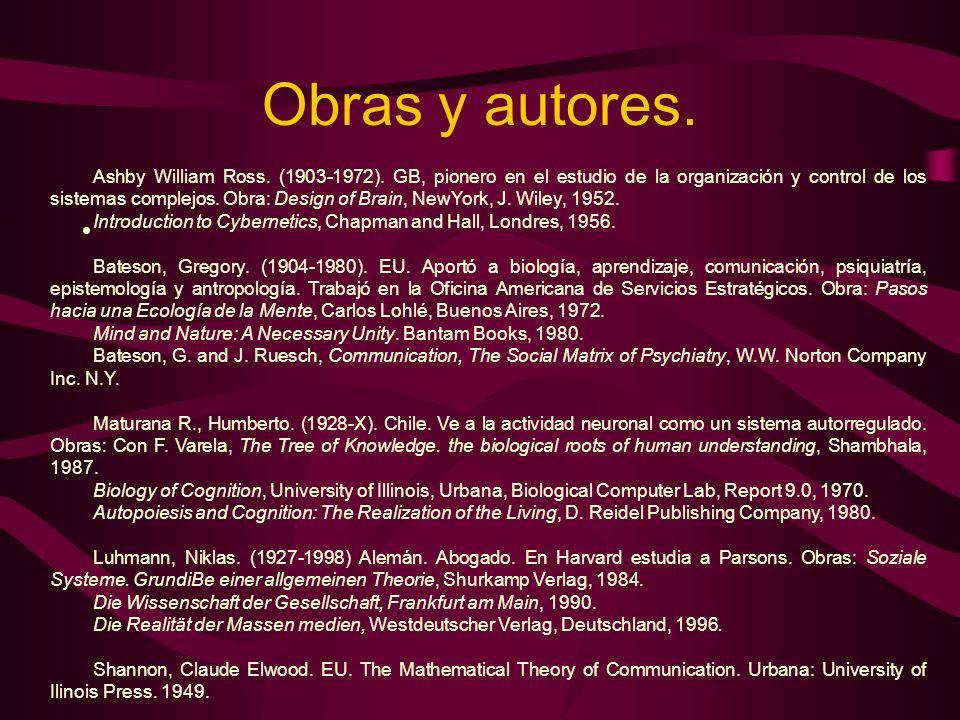 Obras y autores. Ashby William Ross. (1903-1972). GB, pionero en el estudio de la organización y control de los sistemas complejos. Obra: Design of Br