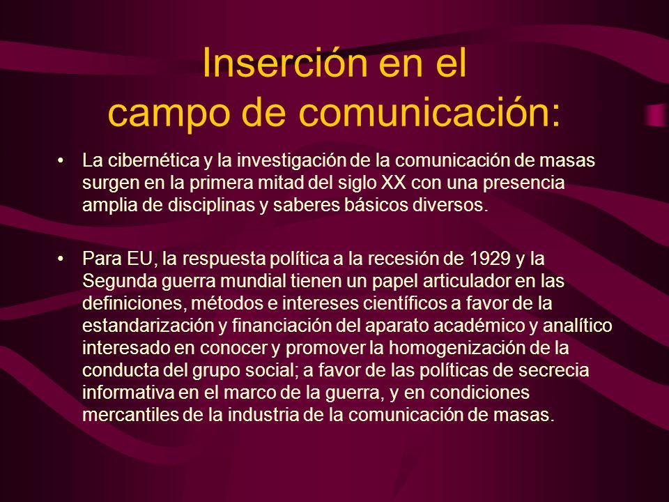 Inserción en el campo de comunicación: La cibernética y la investigación de la comunicación de masas surgen en la primera mitad del siglo XX con una p
