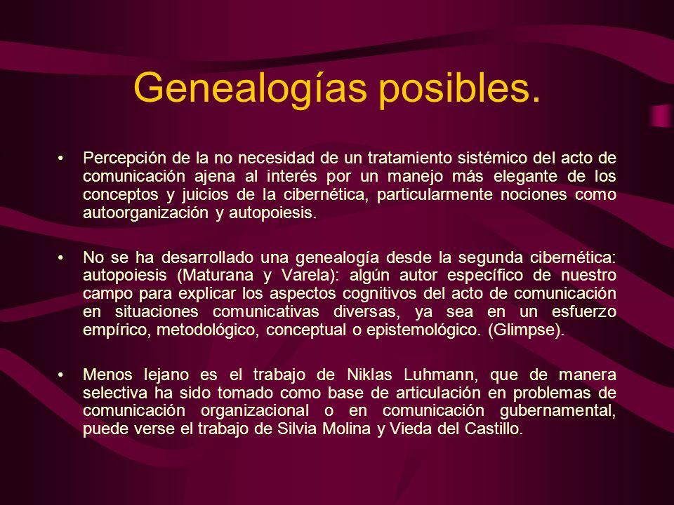 Genealogías posibles. Percepción de la no necesidad de un tratamiento sistémico del acto de comunicación ajena al interés por un manejo más elegante d
