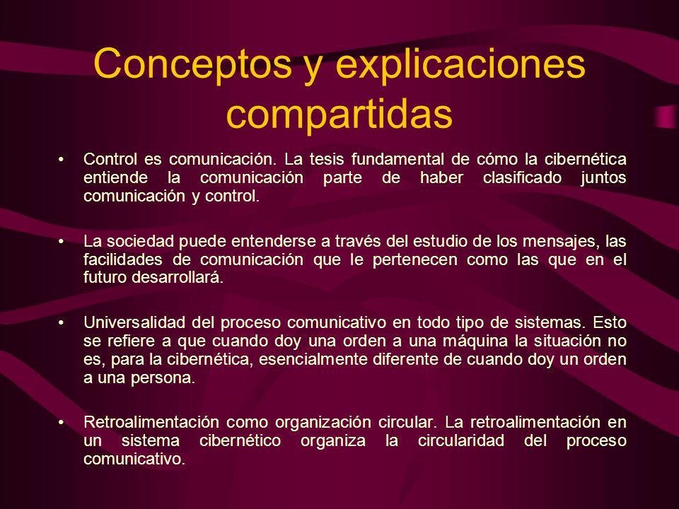 Conceptos y explicaciones compartidas Control es comunicación. La tesis fundamental de cómo la cibernética entiende la comunicación parte de haber cla