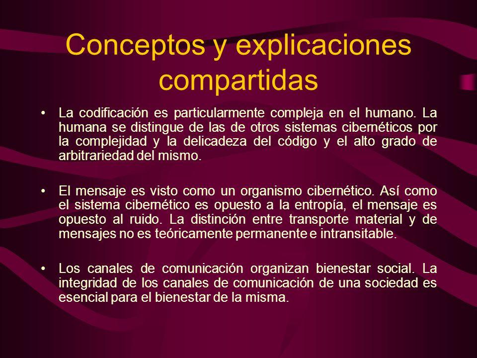 Conceptos y explicaciones compartidas La codificación es particularmente compleja en el humano. La humana se distingue de las de otros sistemas cibern