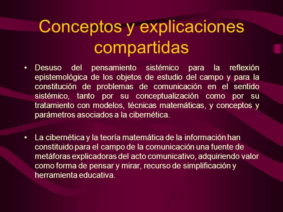 Conceptos y explicaciones compartidas Desuso del pensamiento sistémico para la reflexión epistemológica de los objetos de estudio del campo y para la